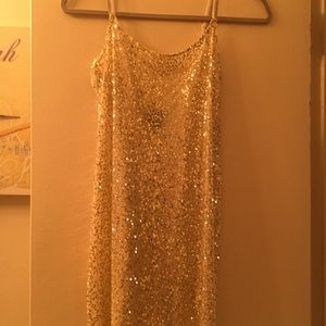 Free People sequin mini tank dress nude beige